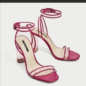Zara clear lucite sandals hot pink 2018 Sz 37